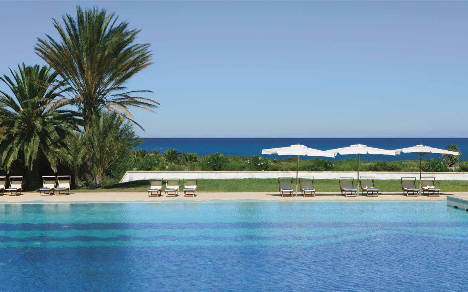 The swimming pool at the Grand Hotel Masseria Santa Lucia