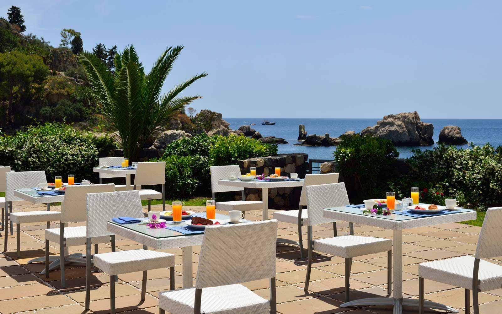 Breakfast terrace at La Plage Resort