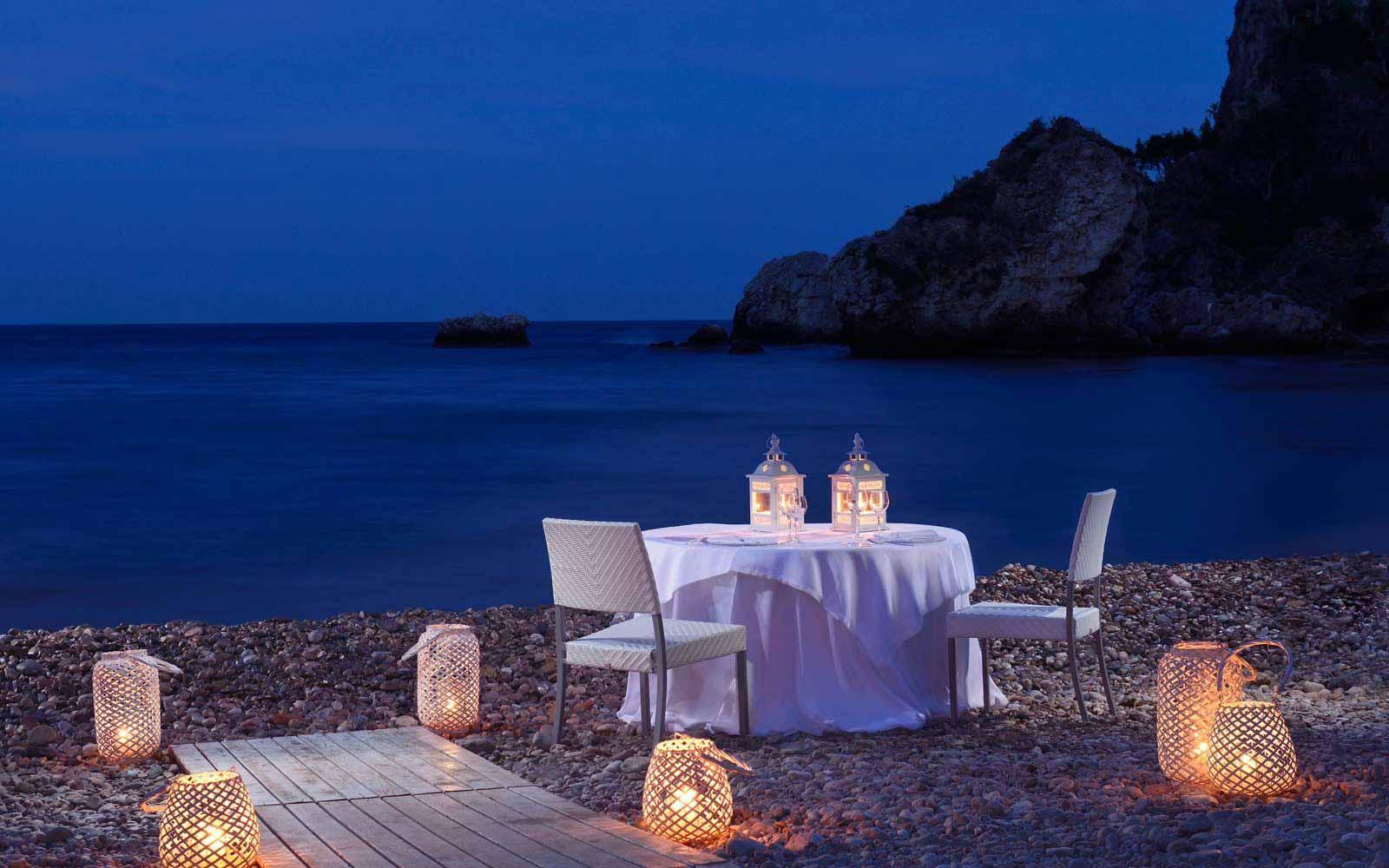 Romantic dinner on the beach at La Plage Resort