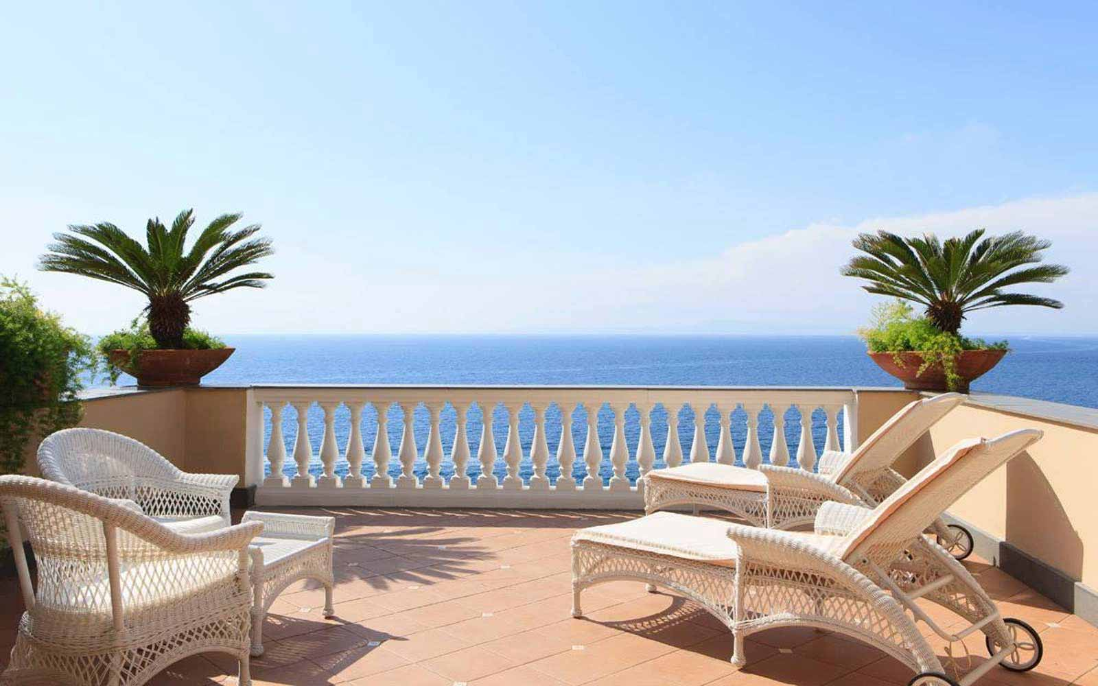 Private terrace in an Executive room at Hotel Corallo