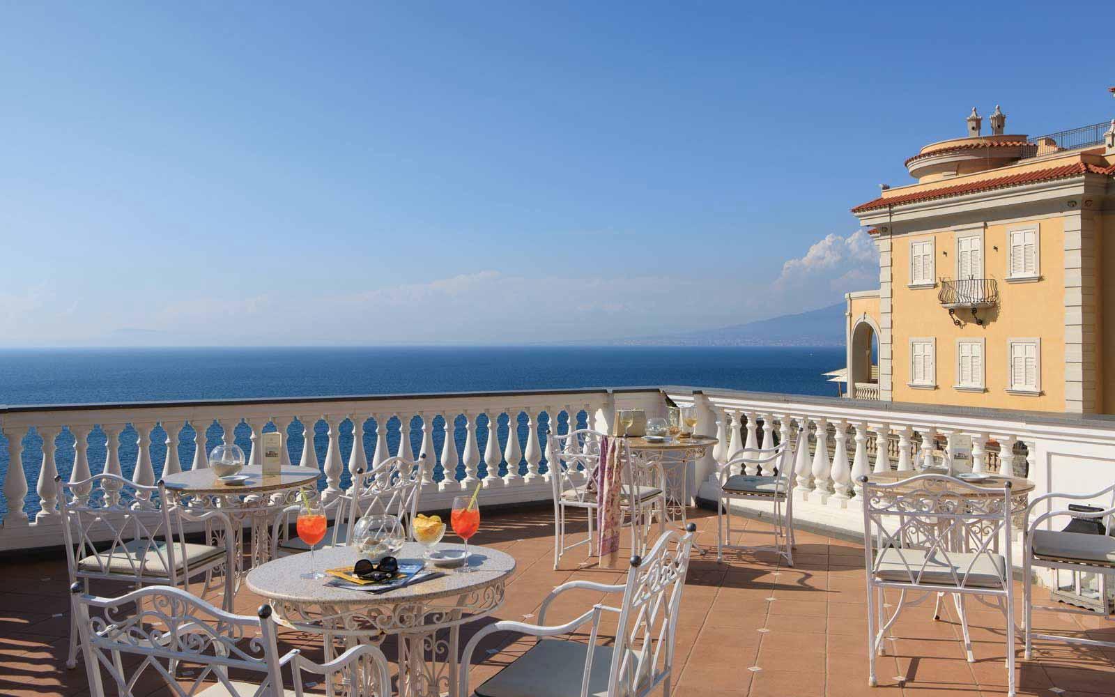 Sunny terrace at Hotel Corallo