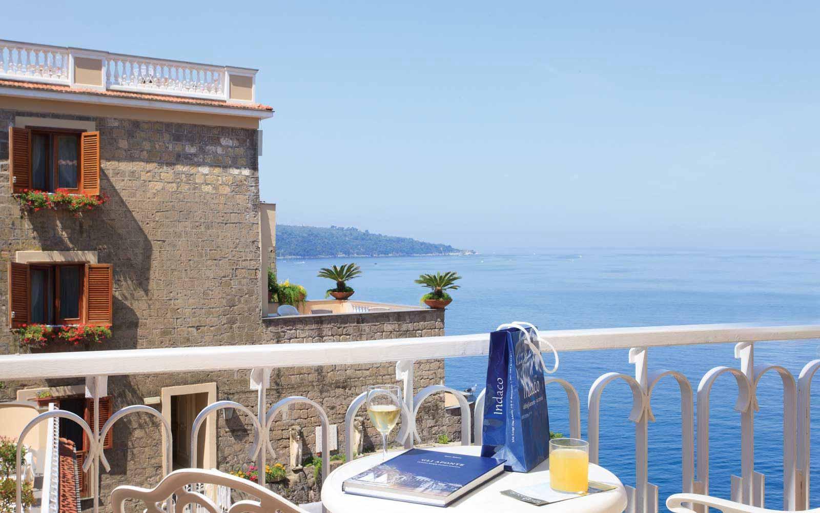 Private balcony in  a superior room at Hotel Corallo