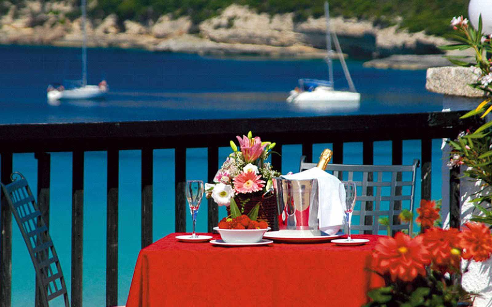 Restaurant terrace at the Colonna Grand Hotel Capo Testa