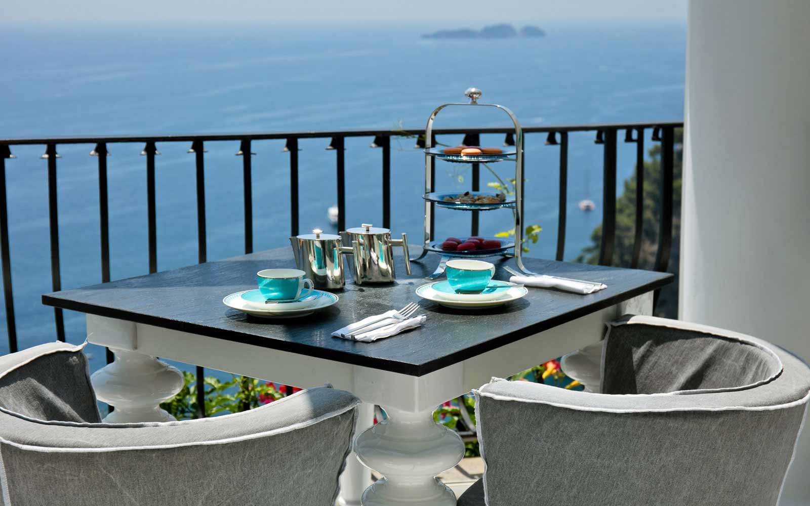 Terrace with view at Hotel Villa Franca