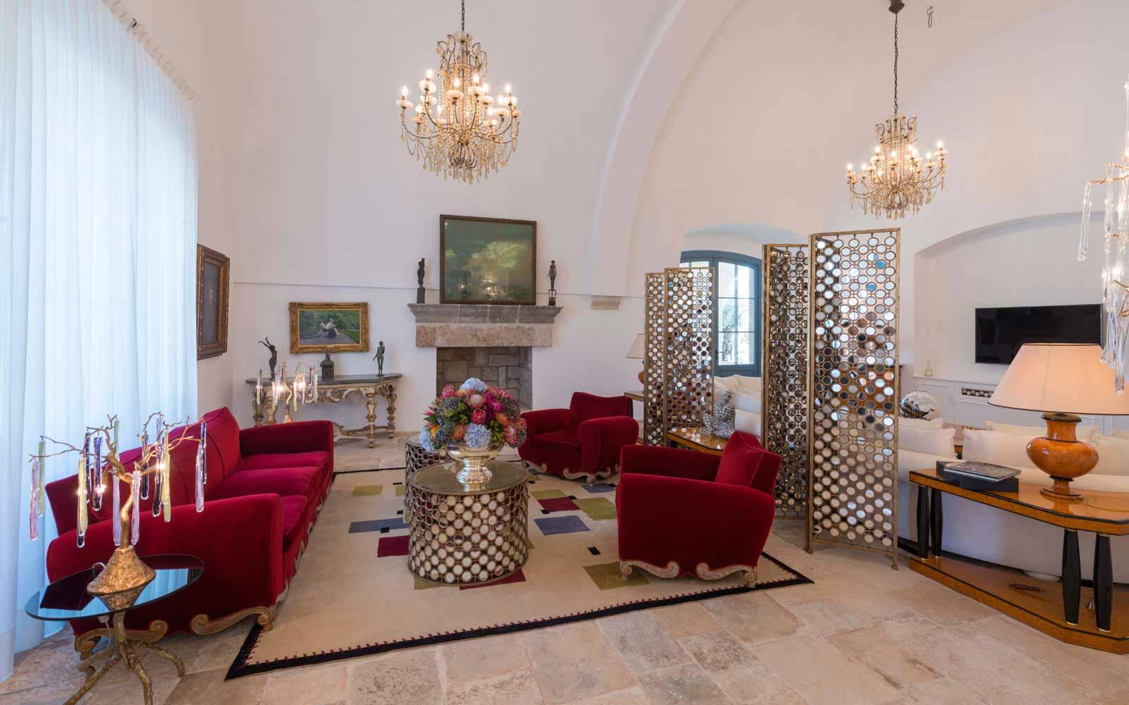 Living room at La Residenza of Masseria Pettolecchia