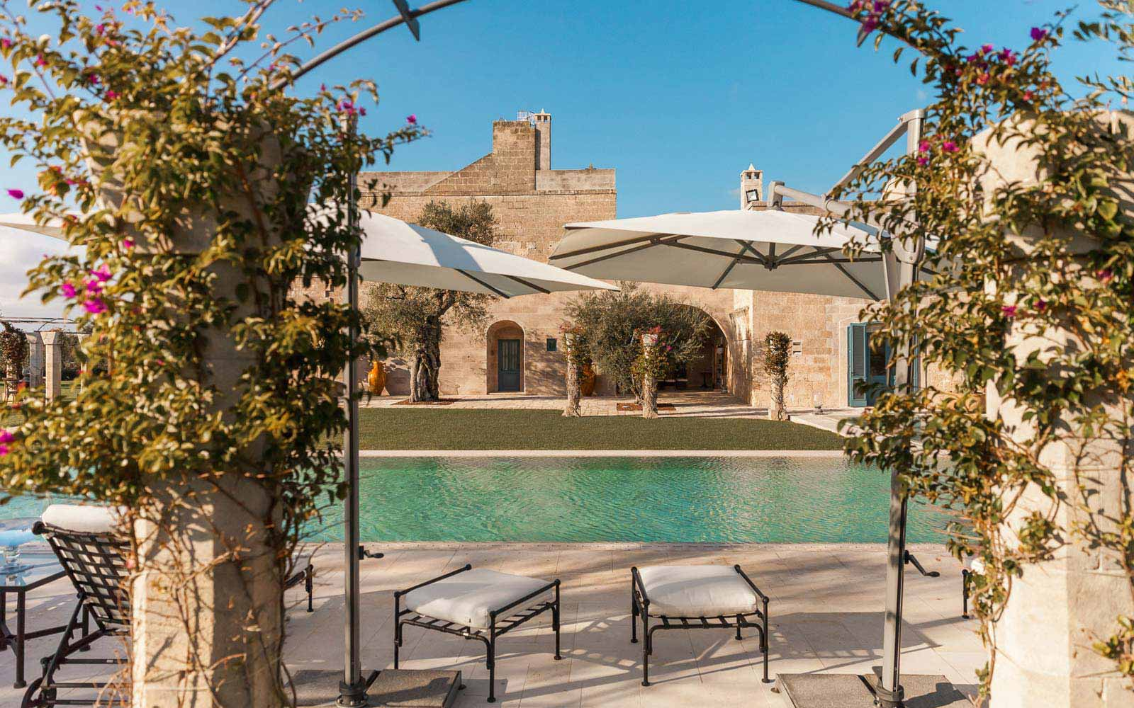 Pool view at La Residenza of Masseria Pettolecchia
