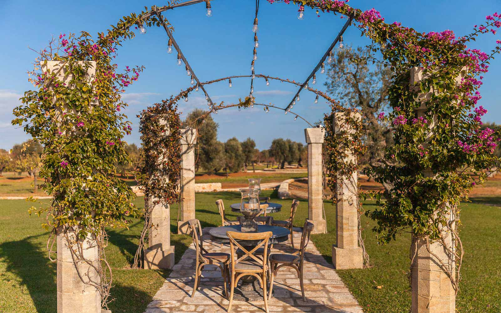 Pergola at La Residenza of Masseria Pettolecchia
