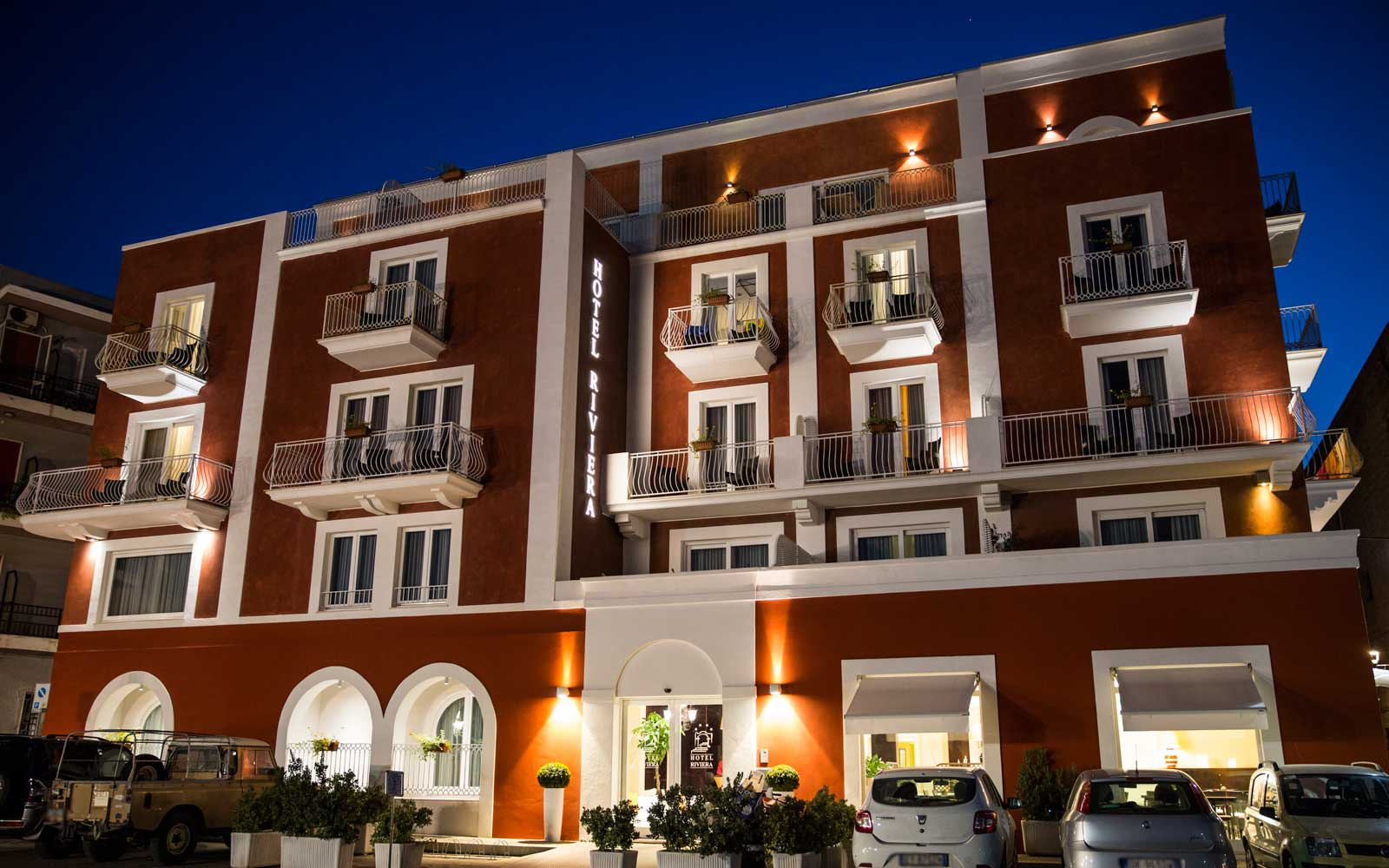 Entrance by Night at Hotel Riviera