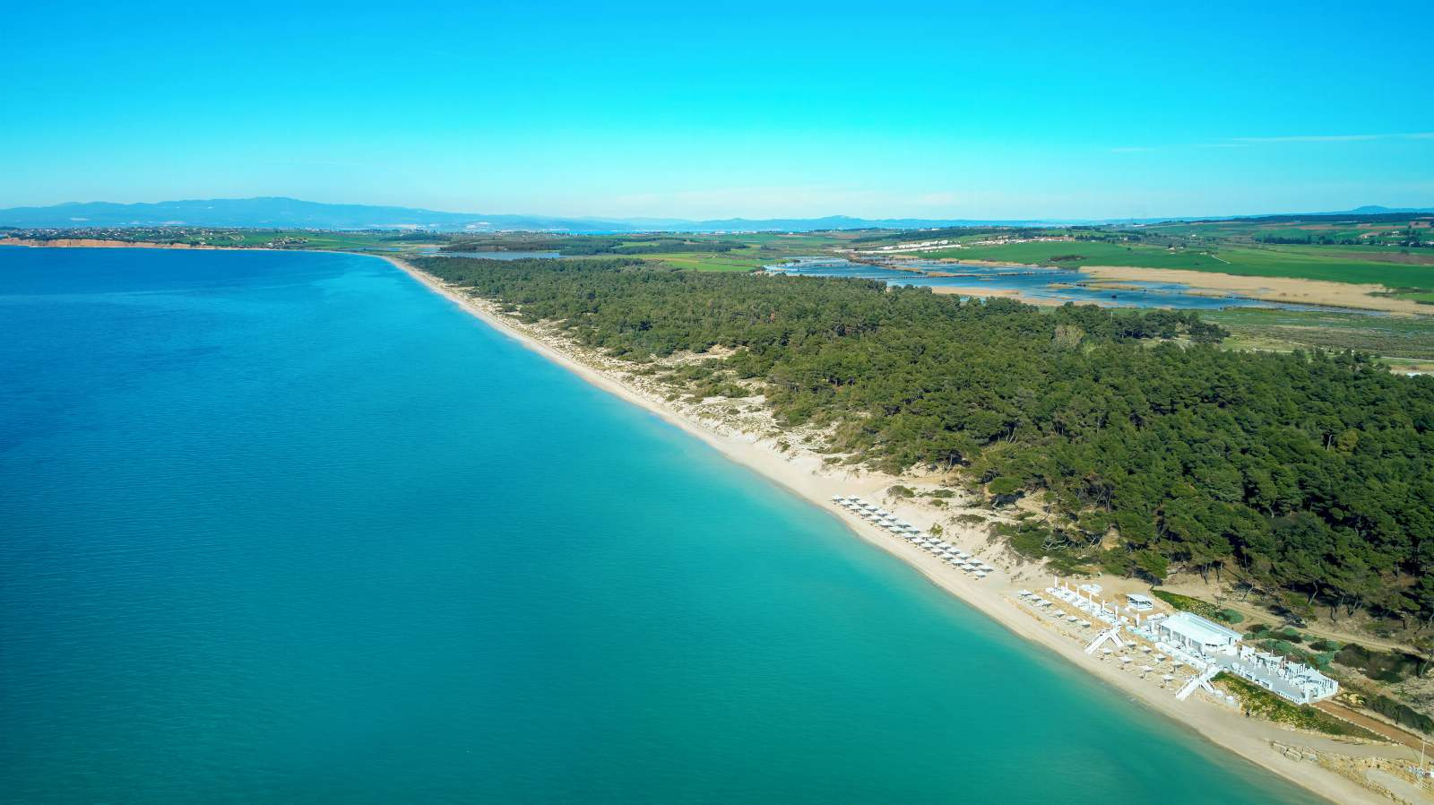 Sani Beach Aerial View