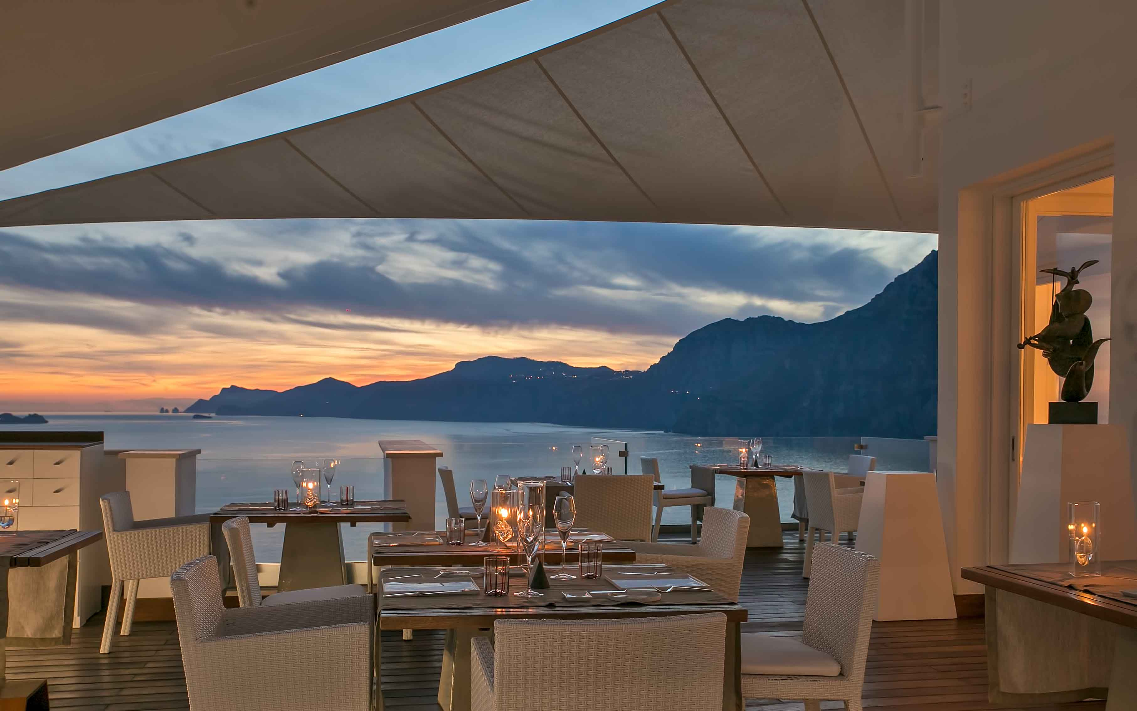 Restaurant by Night at Casa Angelina