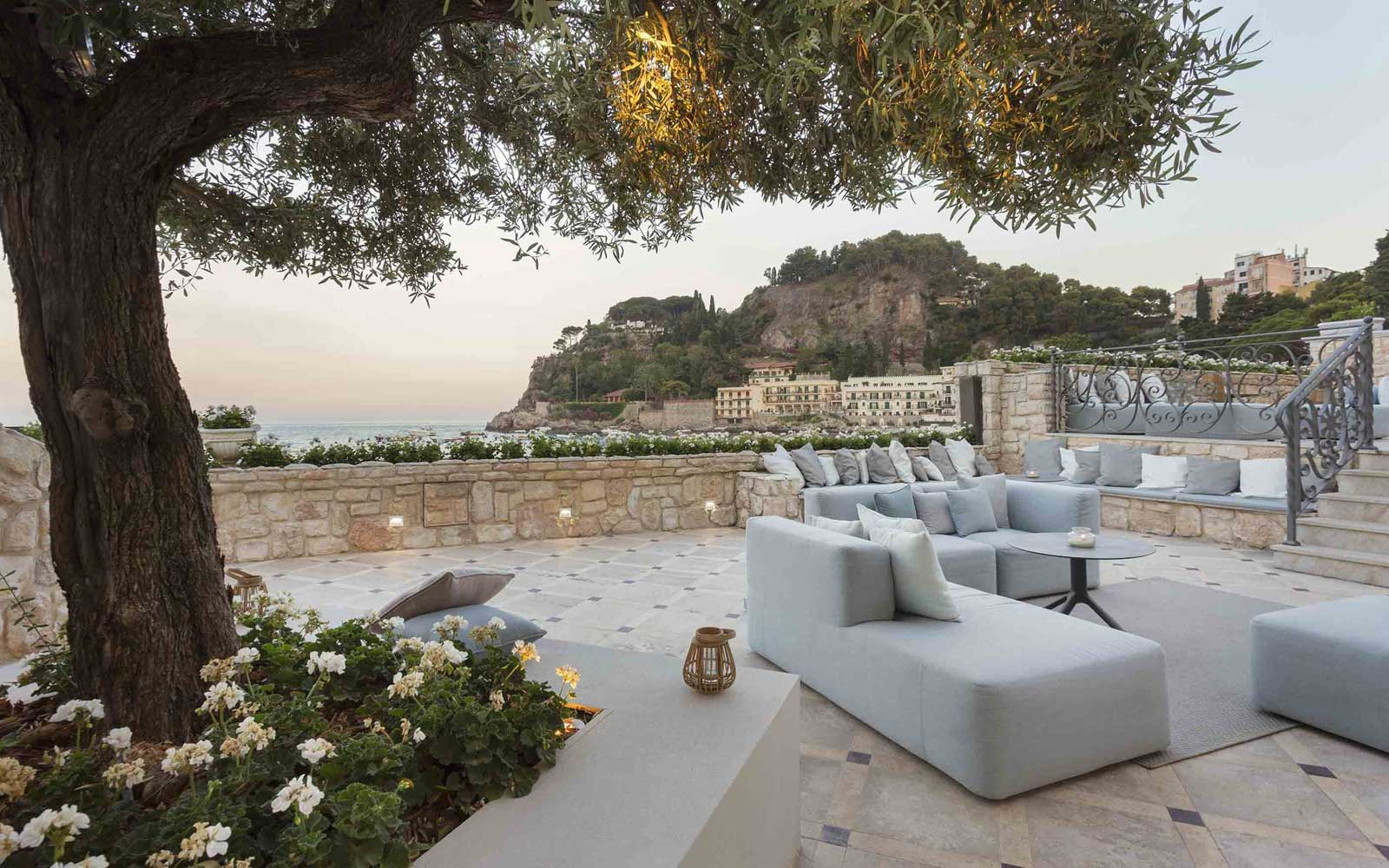 Outdoor Terrace at Grand Hotel Mazzaro Sea Palace
