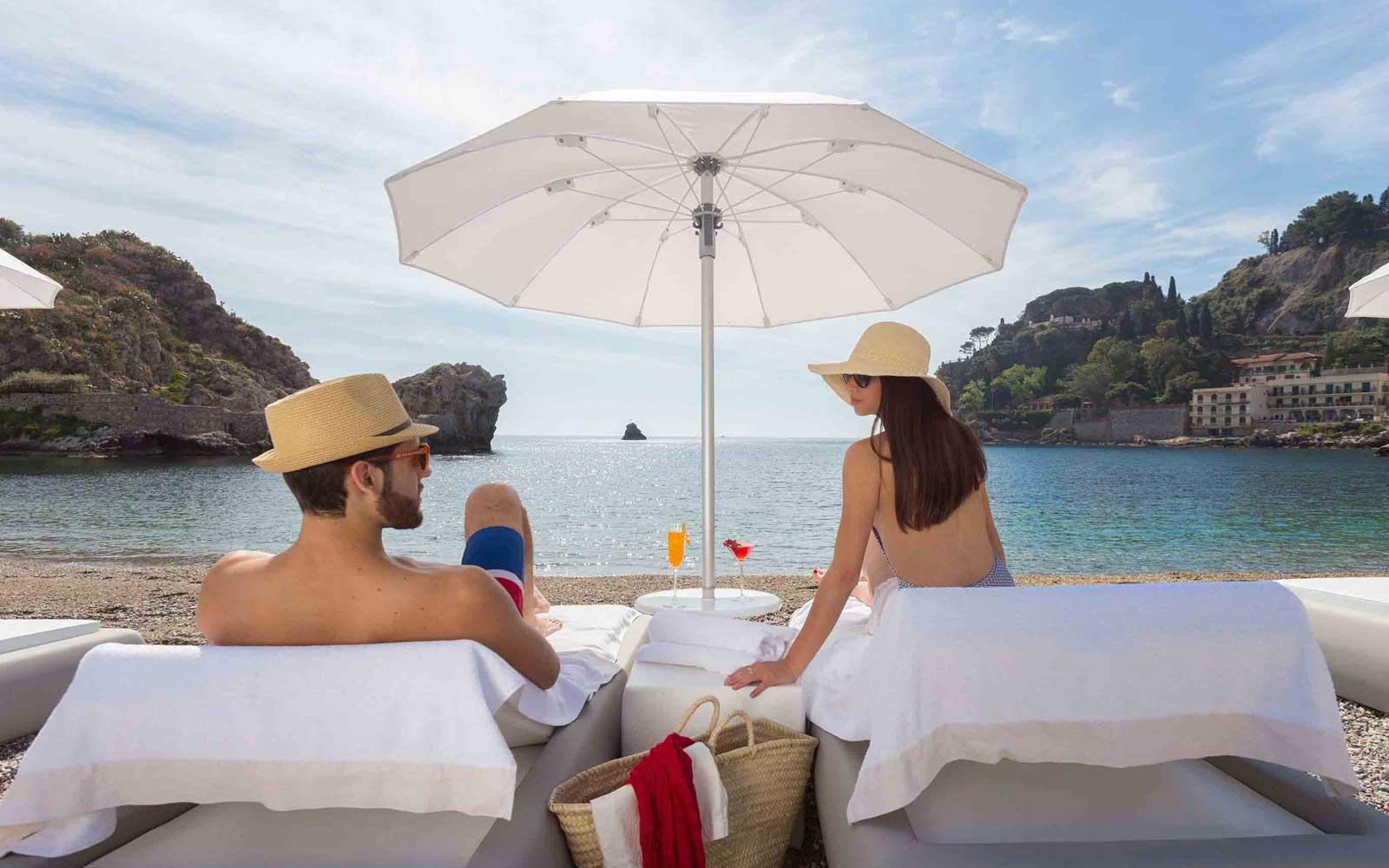Private Beach at Grand Hotel Mazzaro Sea Palace