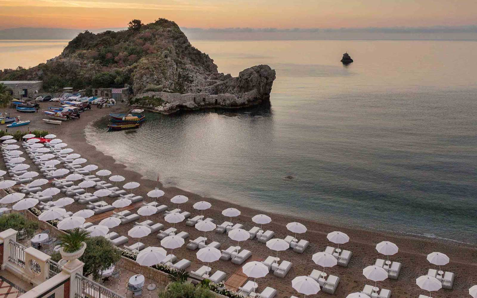Private Beach at Grand Hotel Mazzaro Sea Palace