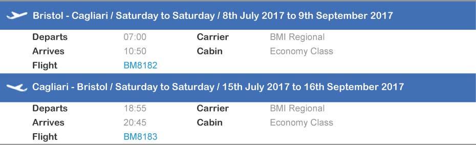 Sardatur Bristol Cagliari flight
