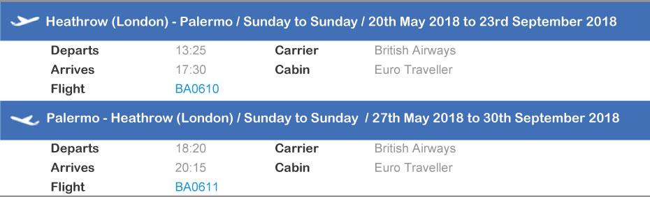 Sardatur flight from London Heathrow to Palermo