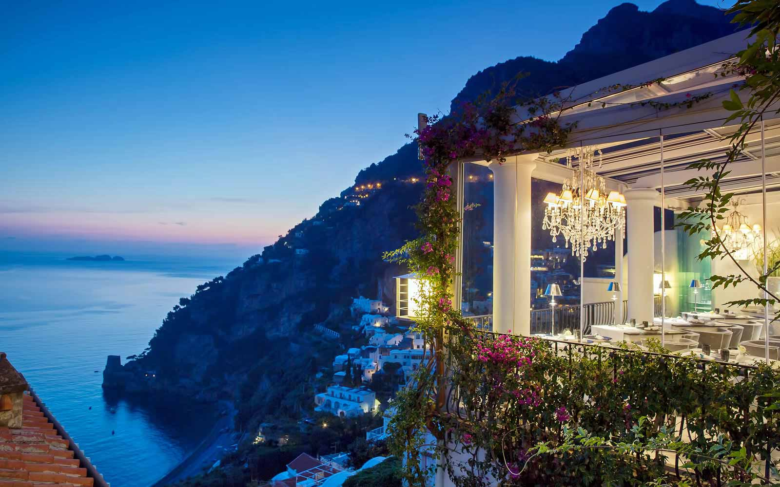The view of the  Amalfi Coast from Hotel villa Franca